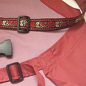 Русский стиль handmade. Livemaster - original item The apron is waterproof with a patterned braid Burgundy. Handmade.