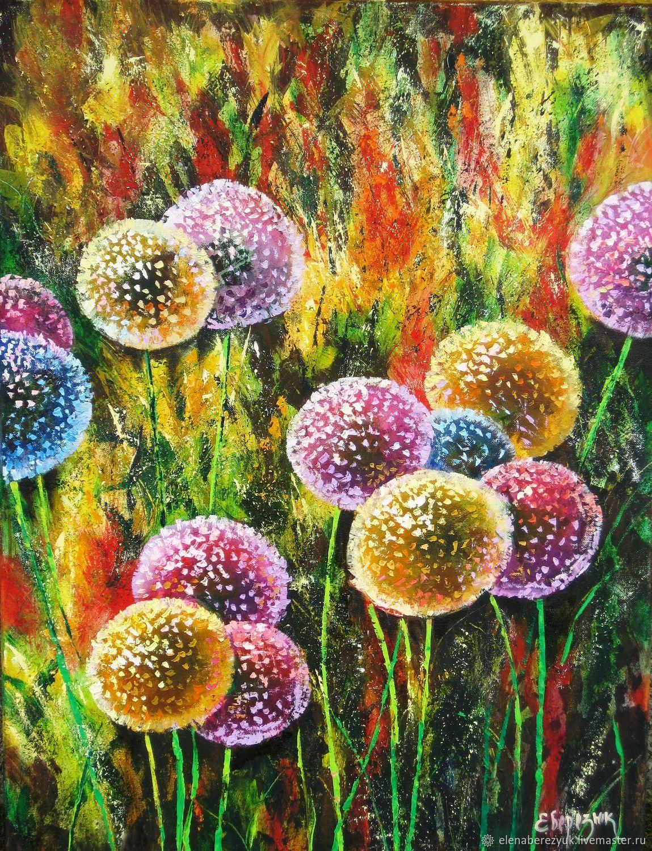 dandelion flower art original oil painting summer