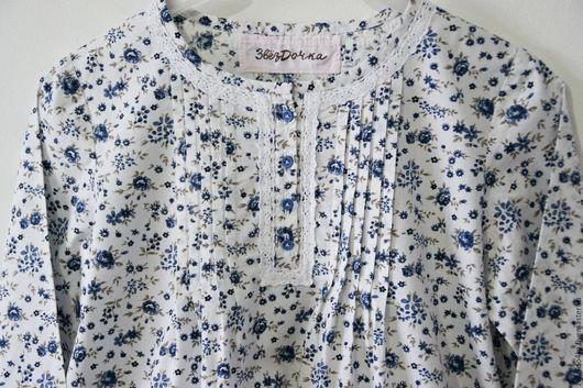 """Одежда для девочек, ручной работы. Ярмарка Мастеров - ручная работа. Купить Ночная сорочка из хлопка """"Синие цветы"""". Handmade. Белый"""
