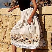 Одежда ручной работы. Ярмарка Мастеров - ручная работа Трикотажная летняя юбка Полевые цветы. Handmade.