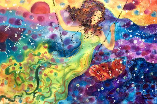 Фантазийные сюжеты ручной работы. Ярмарка Мастеров - ручная работа. Купить Счастье!!!. Handmade. Комбинированный, картина для интерьера