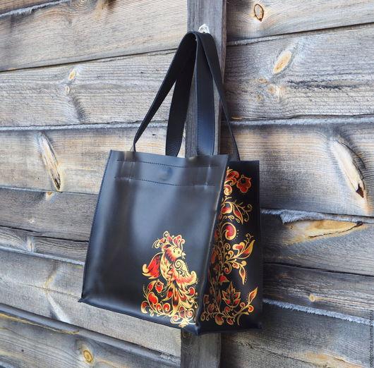 Женские сумки ручной работы. Ярмарка Мастеров - ручная работа. Купить Авторская кожаная сумка с хохломской росписью. Handmade.