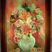 Картины и панно ручной работы. Ярмарка Мастеров - ручная работа Картина маслом Лилии в белой вазе. Handmade.