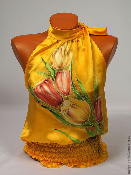 """Блузки ручной работы. Ярмарка Мастеров - ручная работа. Купить Топ-батик  """"Тюльпаны"""". Handmade. Блузка, шелковая блузка"""