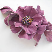 Украшения handmade. Livemaster - original item Jewelry made of leather.Brooch pin purple flower PREMIUM. Handmade.