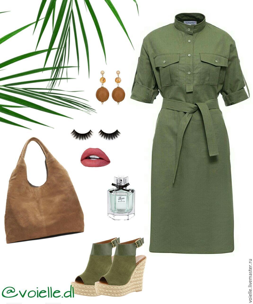 29c87a6e7051edf ... Зеленое льняное платье-рубашка в стиле милитари, летнее. Платье Милитари  из льна и хлопка ...