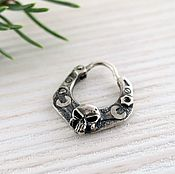 Украшения handmade. Livemaster - original item men`s earring skull - biker`s earring - sterling silver. Handmade.