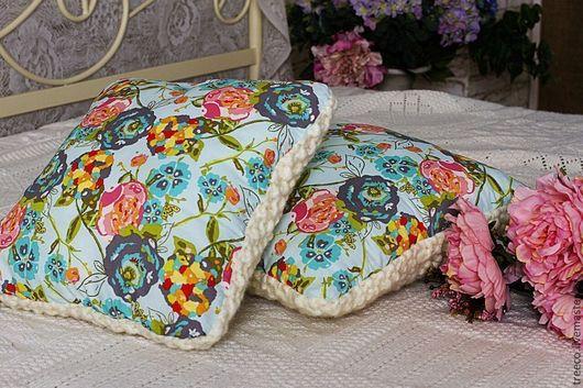 Текстиль, ковры ручной работы. Ярмарка Мастеров - ручная работа. Купить Декоративная подушка с вязаной стороной. Handmade. Белый