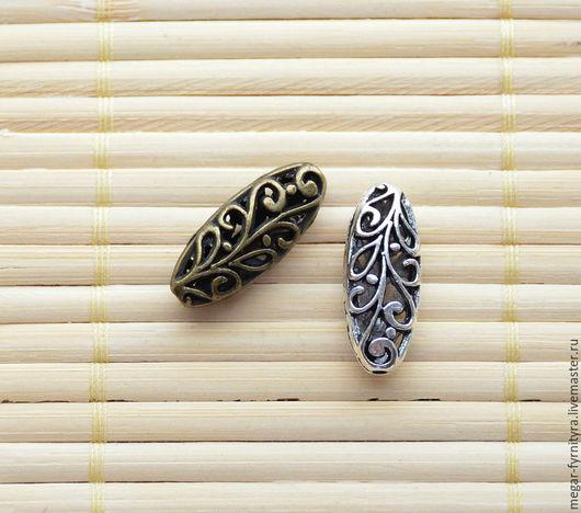 Для украшений ручной работы. Ярмарка Мастеров - ручная работа. Купить Бусина ажурная Два цвета. Handmade. Хаки