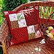 Подушка декоративная красная Кантри , пэчворк - лоскутное шитье. Мастер Lady Olga