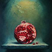 """Картины и панно ручной работы. Ярмарка Мастеров - ручная работа Картина маслом """"Освещенный гранат"""". Handmade."""