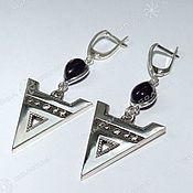 Русский стиль handmade. Livemaster - original item Earrings are the Symbol of Veles (with stones). Handmade.