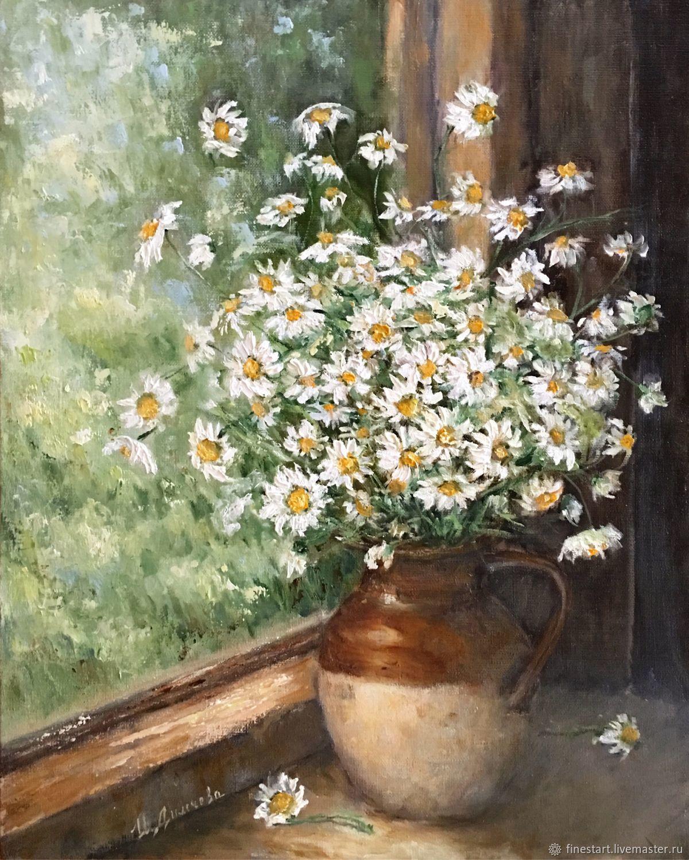 Flower Paintings handmade. Livemaster - handmade. Buy Oil painting of Daisies on the window still life.