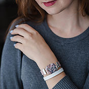 Украшения handmade. Livemaster - original item Leather bracelet with pink opal for girl. Handmade.