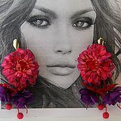 handmade. Livemaster - original item Floral Silk Earrings. Handmade.