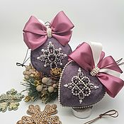 Сувениры и подарки handmade. Livemaster - original item Set of 2 velvet ornaments. Christmas decorations.. Handmade.