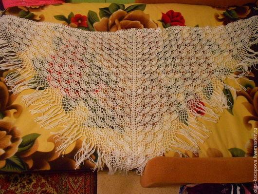 Пончо ручной работы. Ярмарка Мастеров - ручная работа. Купить шаль вязаная крючком ажурная Ракушки  полушерсть. Handmade.