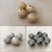 Материалы для творчества handmade. Livemaster - original item Bead with cubic Zirconia 10 mm color 2 colors (Ref. 2973). Handmade.