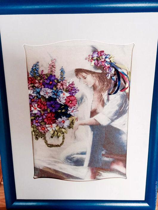 Люди, ручной работы. Ярмарка Мастеров - ручная работа. Купить Девушка с цветами. Handmade. Комбинированный, картина в подарок
