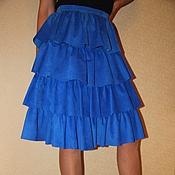 Юбки ручной работы. Ярмарка Мастеров - ручная работа Замшевая юбка василькового цвета. Handmade.