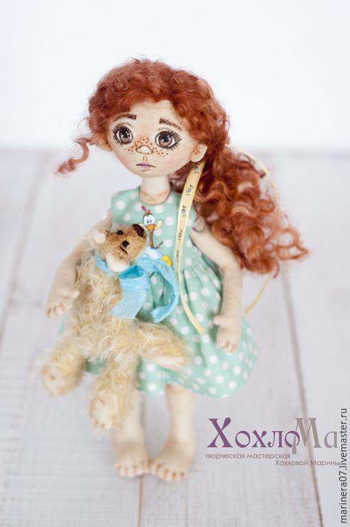 Коллекционные куклы ручной работы. Ярмарка Мастеров - ручная работа. Купить Кукла Сонечка и друг Бублик. Handmade. Кукла, бязь