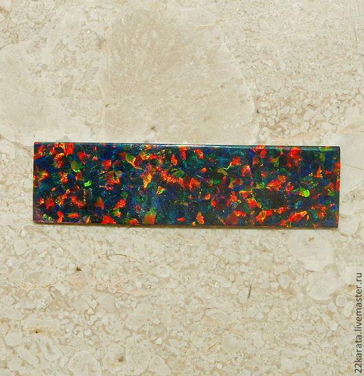 Для украшений ручной работы. Ярмарка Мастеров - ручная работа. Купить Опал пластина синтетический, темно-зеленый/оранжевый 39,5 х 10,5. Handmade.