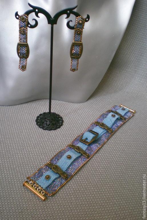 Комплекты украшений ручной работы. Ярмарка Мастеров - ручная работа. Купить Джинсовый комплект 2. Handmade. Разноцветный