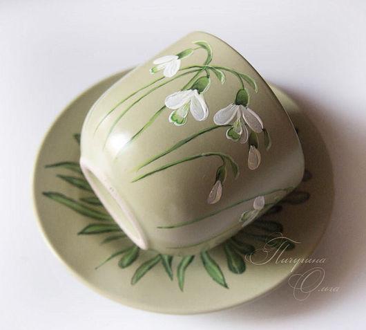 """Сервизы, чайные пары ручной работы. Ярмарка Мастеров - ручная работа. Купить Чайная пара """"Подснежники"""". Handmade. Зеленый"""