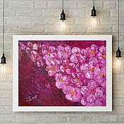 Картины и панно ручной работы. Ярмарка Мастеров - ручная работа ОТТЕНКИ РОЗОВОГО - объемная картина с розовыми цветами. Handmade.