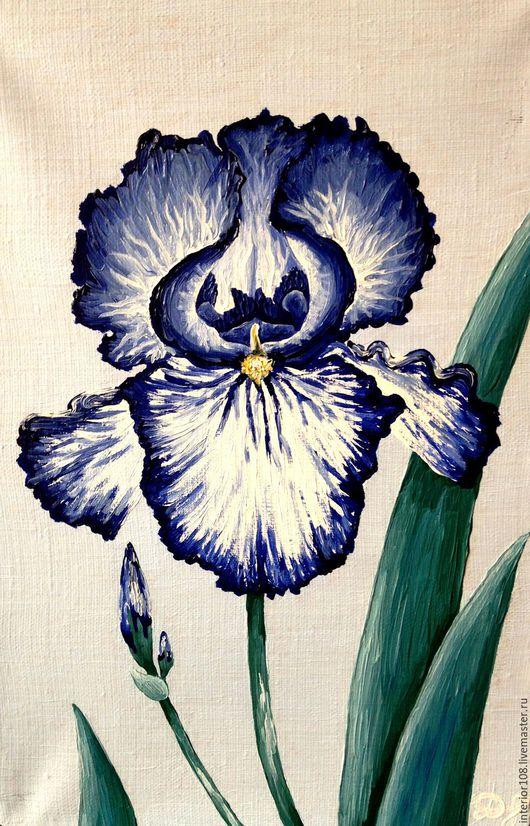 """Картины цветов ручной работы. Ярмарка Мастеров - ручная работа. Купить Картина маслом ручной работы. """" Синий ирис """". 20 х 30 см.. Handmade."""