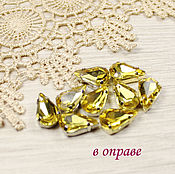 Материалы для творчества handmade. Livemaster - original item 13h8 mm daffodil drops in gold and silver frames sewn on. Handmade.