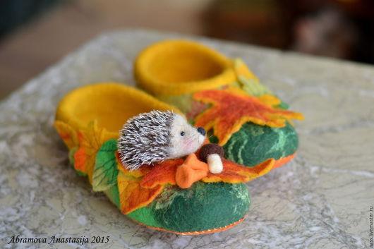 """Обувь ручной работы. Ярмарка Мастеров - ручная работа. Купить Тапочки """"Принцесса осени"""". Handmade. Оранжевый, тапки валяные"""