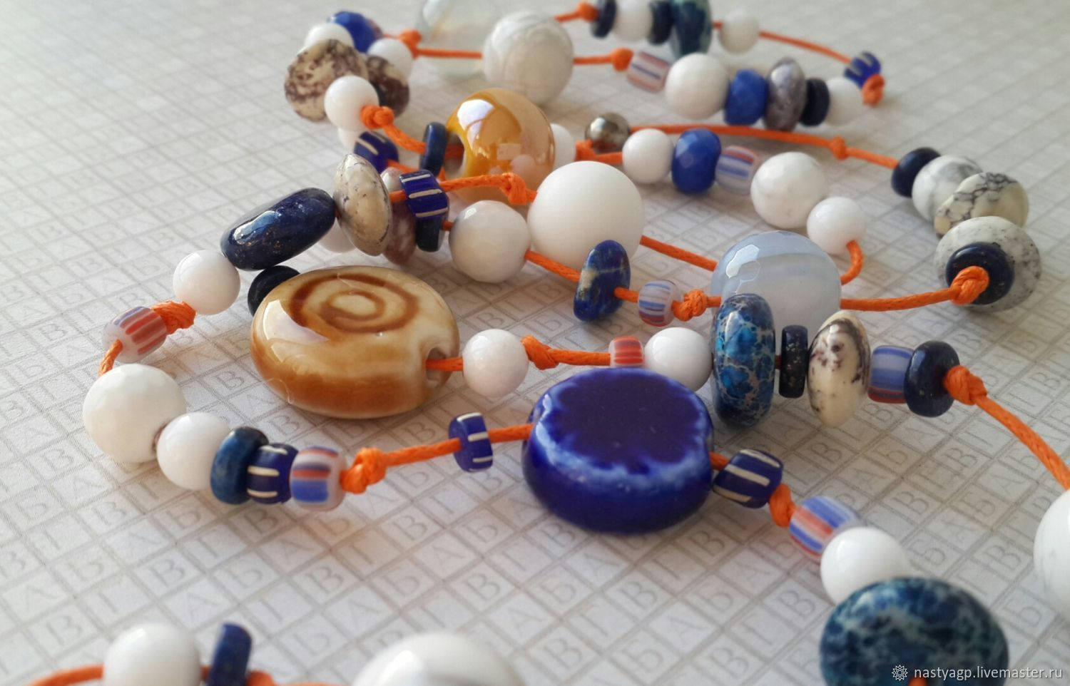Beads on a cotton cord About summer, Necklace, Moscow,  Фото №1