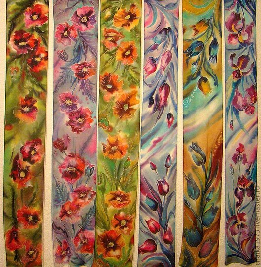 Шарфы и шарфики ручной работы. Ярмарка Мастеров - ручная работа. Купить шарфики. Handmade. Цветочный, натуральный шёлк