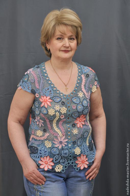 """Блузки ручной работы. Ярмарка Мастеров - ручная работа. Купить Блуза """"Гармония"""", майка ажурная, вязаный женский топ, летняя одежда. Handmade."""