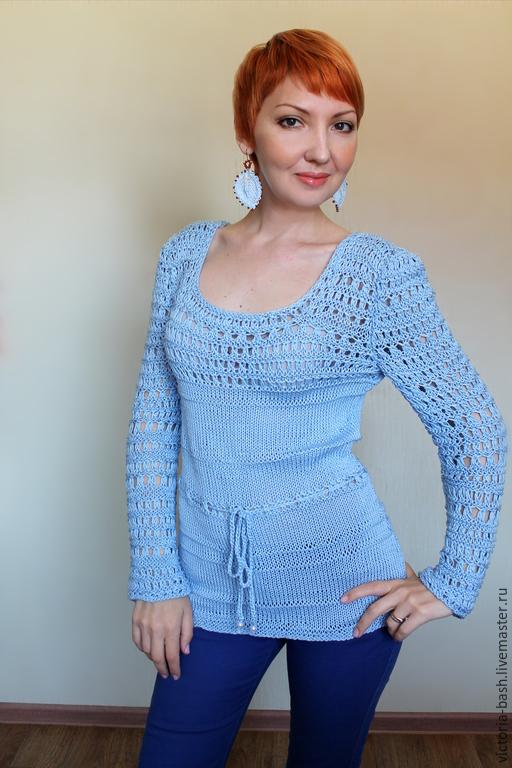 """Кофты и свитера ручной работы. Ярмарка Мастеров - ручная работа. Купить Хлопковый пуловер """"Намёк"""". Handmade. Голубой, пуловер ажурный"""