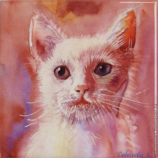 """Картина """"Кошка"""" сублимация на керамической плитке, авторская печать"""