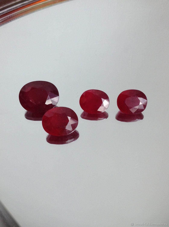 Для украшений ручной работы. Ярмарка Мастеров - ручная работа. Купить Рубин натуральный (овал), 4 камня, пара/комплект. Handmade.