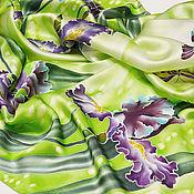 """Аксессуары ручной работы. Ярмарка Мастеров - ручная работа Платок """"Волшебный запах ирисов"""" батик. Handmade."""