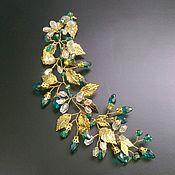 Свадебный салон handmade. Livemaster - original item Wedding twig in her hair. Emerald Greek.. Handmade.