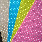 Фетр средней жесткости 1 мм цветной с сердечками