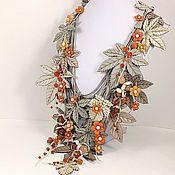 Украшения handmade. Livemaster - original item Morning Sea Buckthorn. necklace made of genuine leather. Handmade.