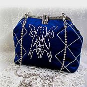 Сумки и аксессуары handmade. Livemaster - original item Velvet blue clutch bag