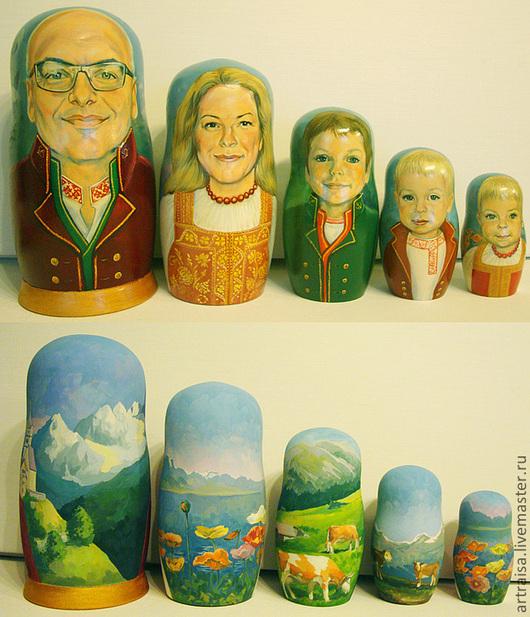 Так выглядит матрешка до лакировки.Матрешка семейная, 25 см, 5 шт. 2012. Швейцария. 27.000 руб. Композиция росписи на каждой кукле сюжетная с поясным костюмированным портретом.
