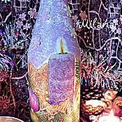 """Подарки к праздникам ручной работы. Ярмарка Мастеров - ручная работа """"Свеча горела..."""" Бутылка новогодняя. Декупаж. Handmade."""