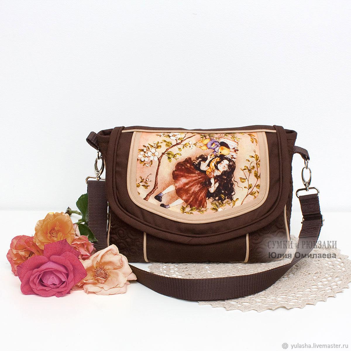 Женская сумка через плечо. Кроссбоди. Текстиль. Принт на клапане, Сумки, Краснодар, Фото №1