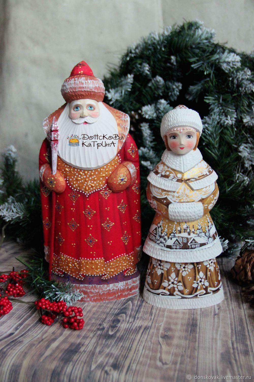 дед мороз и снегурочка большие 11 деревянные резные расписные купить на ярмарке мастеров Gsz07ru сувениры москва
