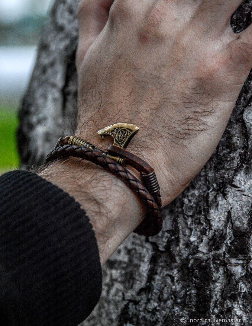 """Браслет """"Кельтский топор"""" из кожи и бронзы, Браслет плетеный, Ярославль,  Фото №1"""