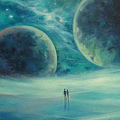 Картины и панно ручной работы. Ярмарка Мастеров - ручная работа Картина маслом про любовь и космос. Handmade.