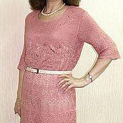Одежда ручной работы. Ярмарка Мастеров - ручная работа Вязаное платье из шелка розовое. Handmade.
